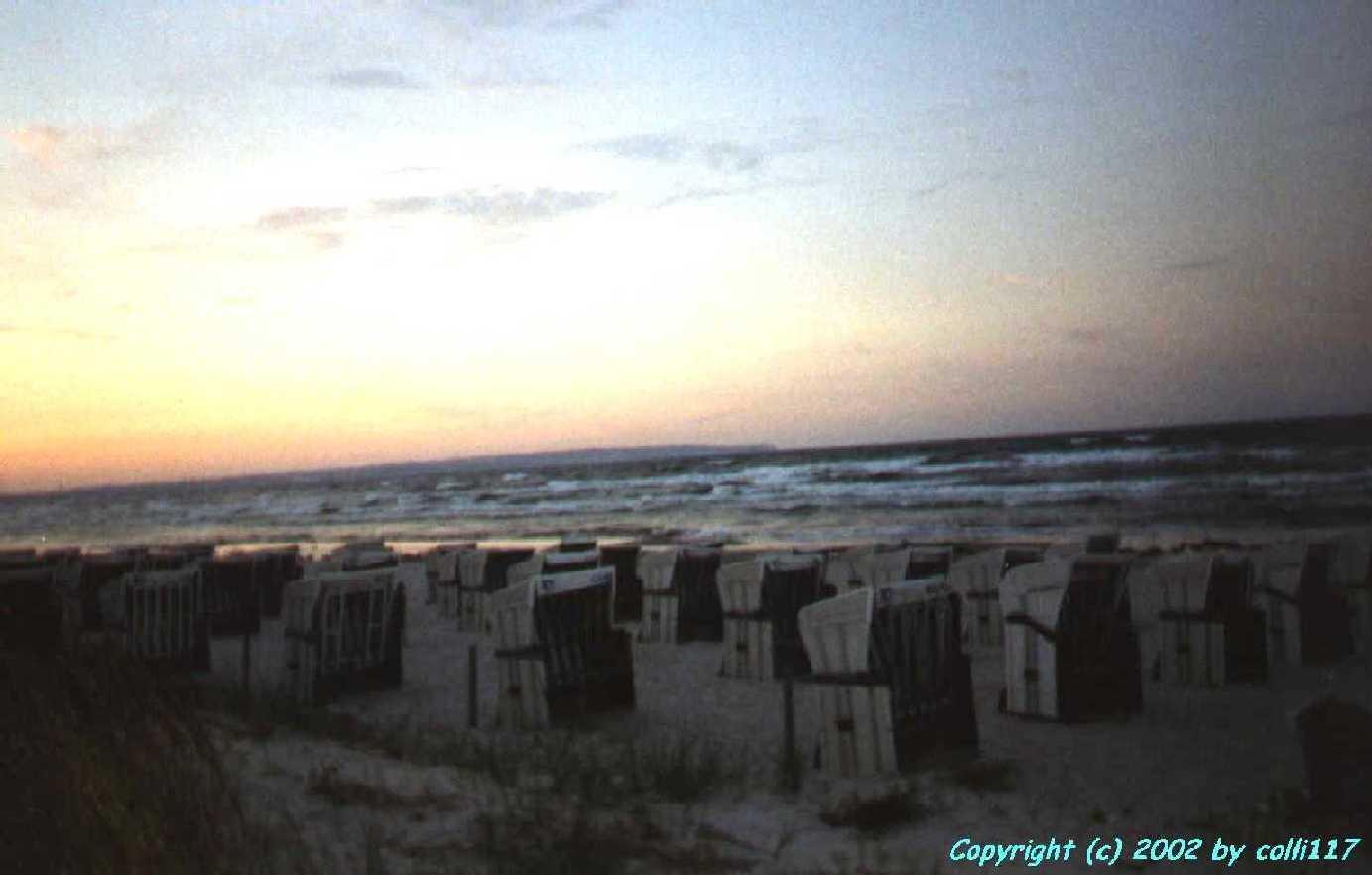 Ein Urlaubsfoto von 2002: Der Strand in Binz beim Sonnenuntergang!